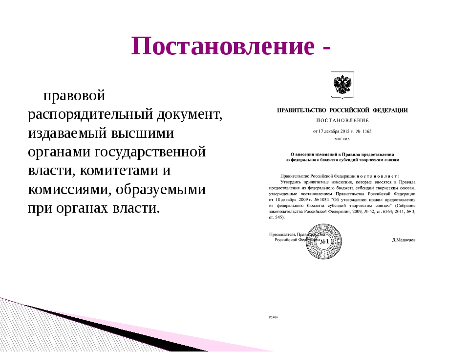 правовой распорядительный документ, издаваемый высшими органами государствен...