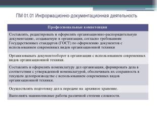 ПМ 01.01 Информационно-документационная деятельность Профессиональныекомпетен