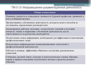 ПМ 01.01 Информационно-документационная деятельность Общие компетенции Понима