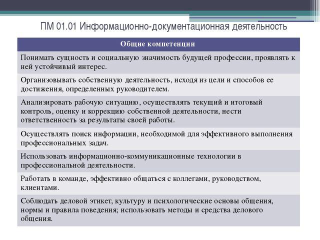 ПМ 01.01 Информационно-документационная деятельность Общие компетенции Понима...