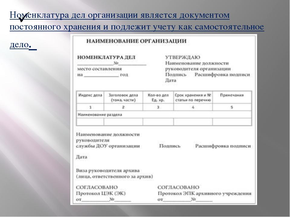 Номенклатура дел организации является документом постоянного хранения и подл...