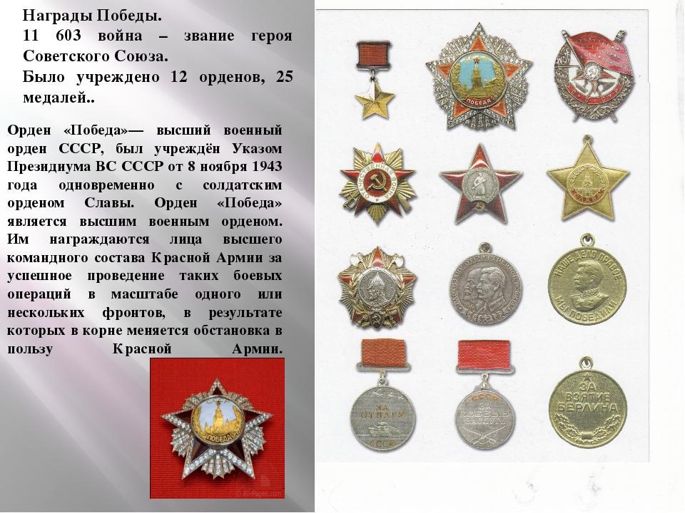 Награды Победы. 11 603 война – звание героя Советского Союза. Было учреждено...