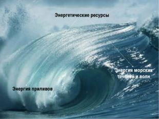 Энергетические ресурсы Энергия приливов Энергия морских течений и волн