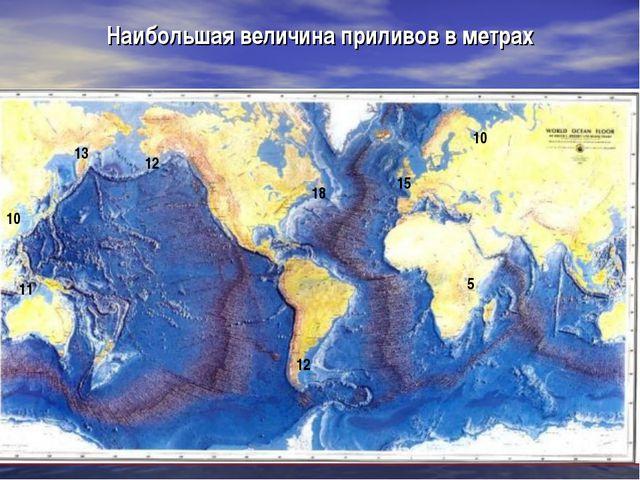 Наибольшая величина приливов в метрах 18 10 13 10 15 11 12 12 5
