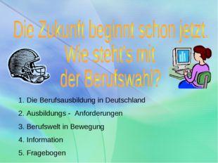 Die Berufsausbildung in Deutschland Ausbildungs - Anforderungen Berufswelt in