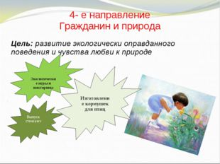 4- е направление Гражданин и природа Цель: развитие экологически оправданного
