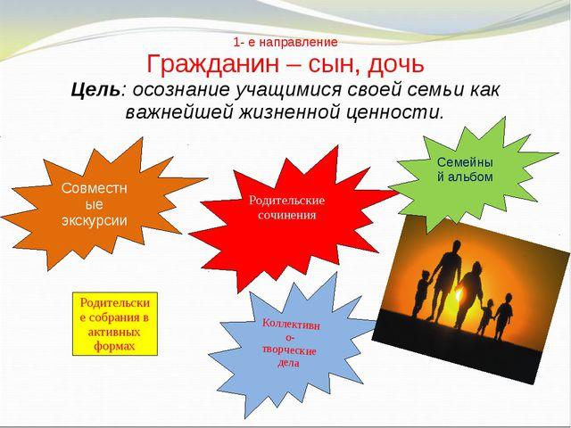 1- е направление Гражданин – сын, дочь Цель: осознание учащимися своей семьи...