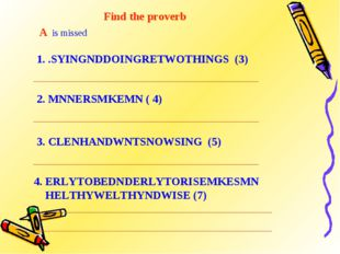 Find the proverb A is missed 1. .SYINGNDDOINGRETWOTHINGS (3) 2. MNNERSMKEMN (