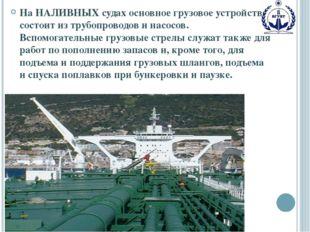 На НАЛИВНЫХ судах основное грузовое устройство состоит из трубопроводов и нас