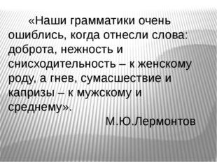 «Наши грамматики очень ошиблись, когда отнесли слова: доброта, нежность и сн
