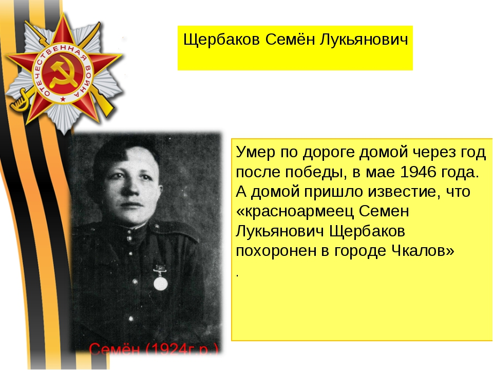 Щербаков Семён Лукьянович Умер по дороге домой через год после победы, в мае...