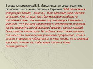 В своих воспоминаниях В. В. Марковников так рисует состояние теоретической ор