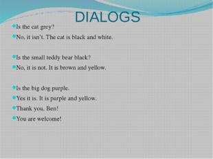 DIALOGS Is the cat grey? No, it isn't. The cat is black and white. Is the sma