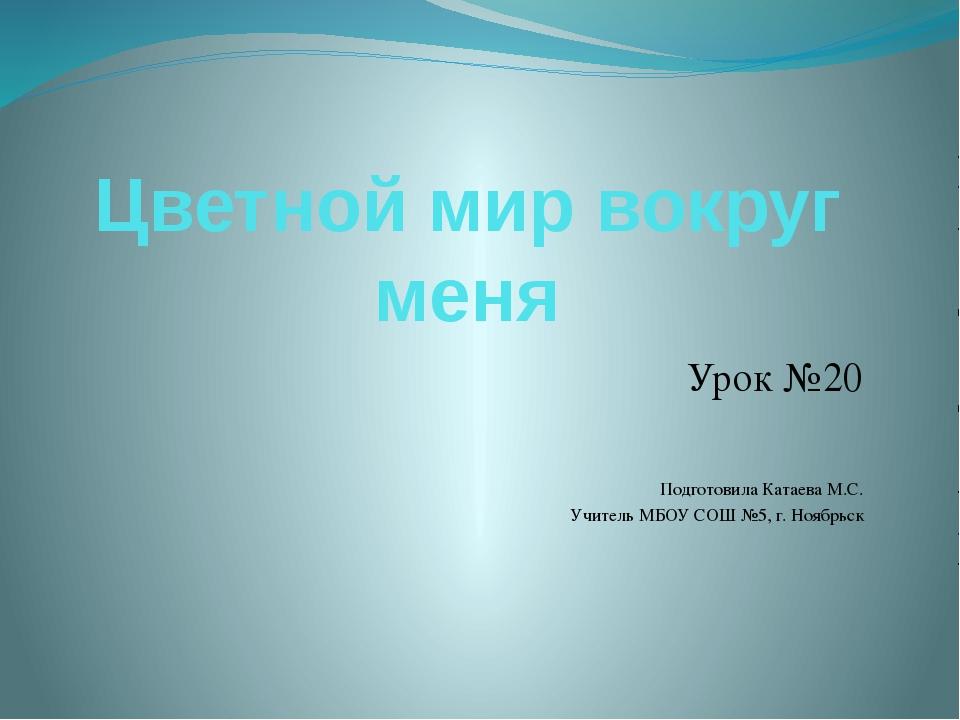 Цветной мир вокруг меня Урок №20 Подготовила Катаева М.С. Учитель МБОУ СОШ №5...