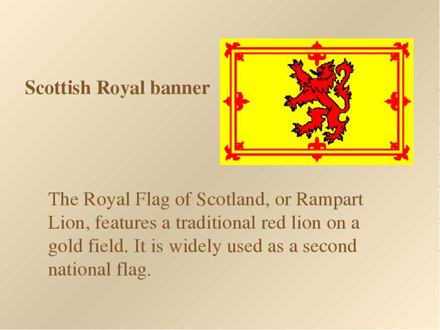 Scottish Royal banner The Royal Flag of Scotland, or Rampart Lion, features a...