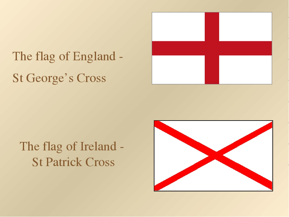 The flag of Ireland - St Patrick Cross The flag of England - St George's Cross