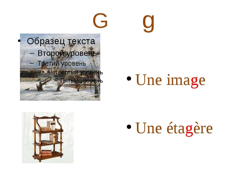 G g Une image Une étagère