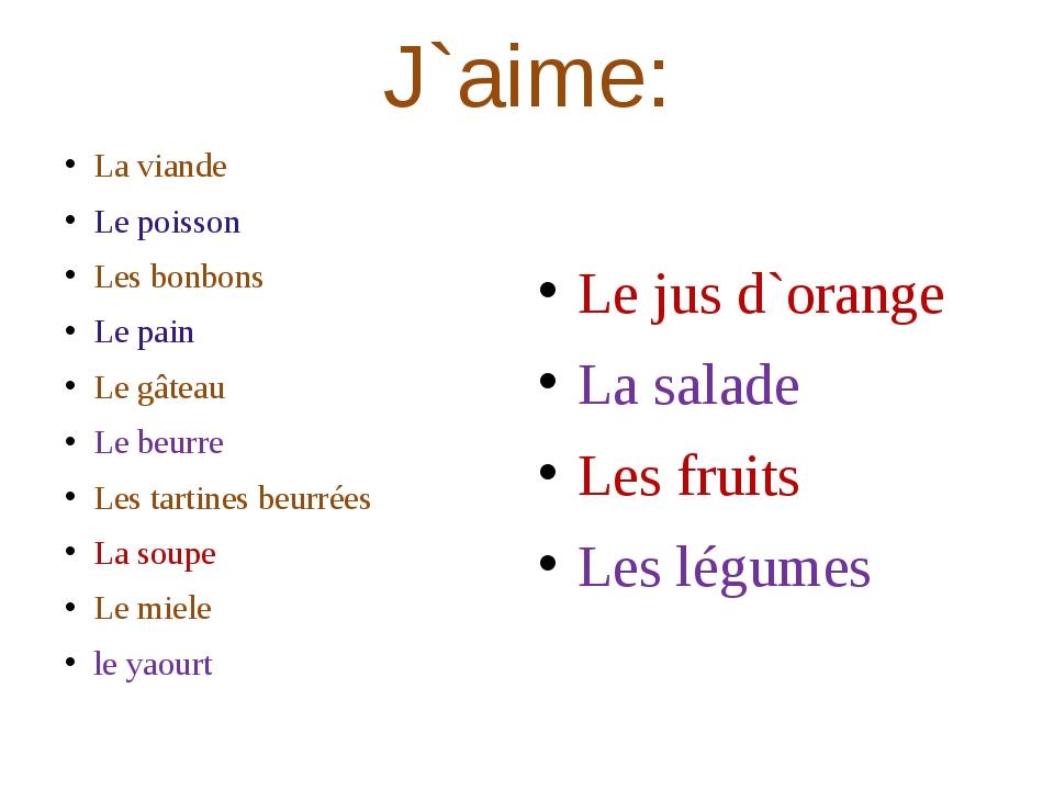 J`aime: La viande Le poisson Les bonbons Le pain Le gâteau Le beurre Les tart...