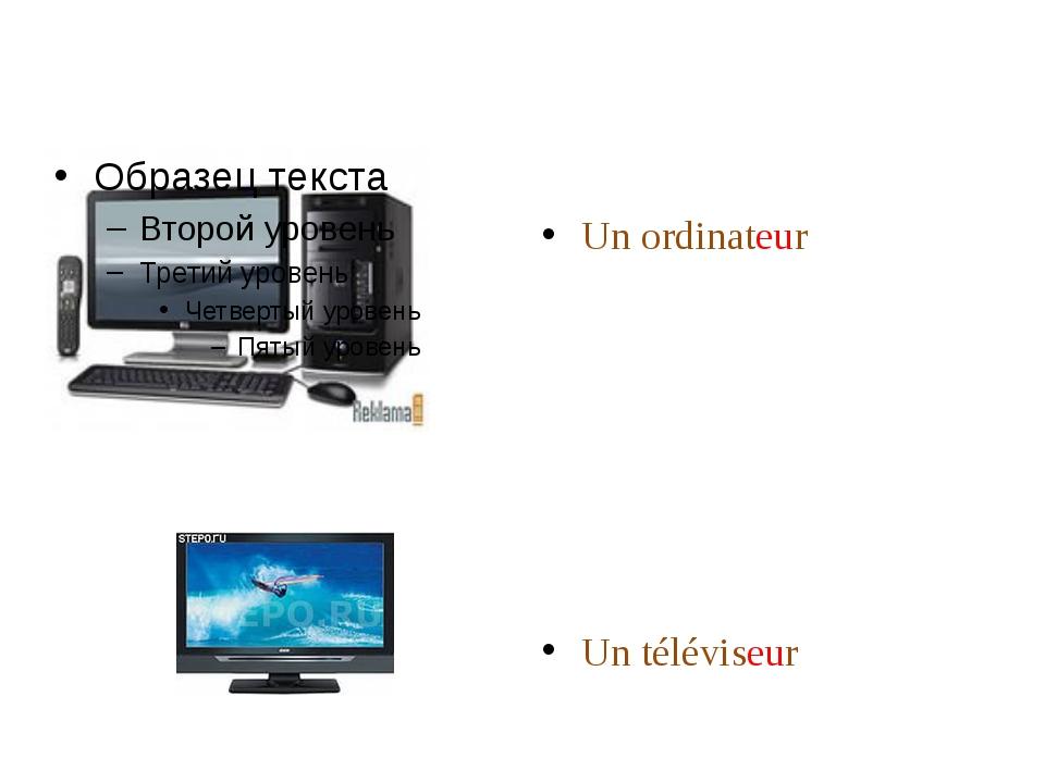 Un ordinateur Un téléviseur