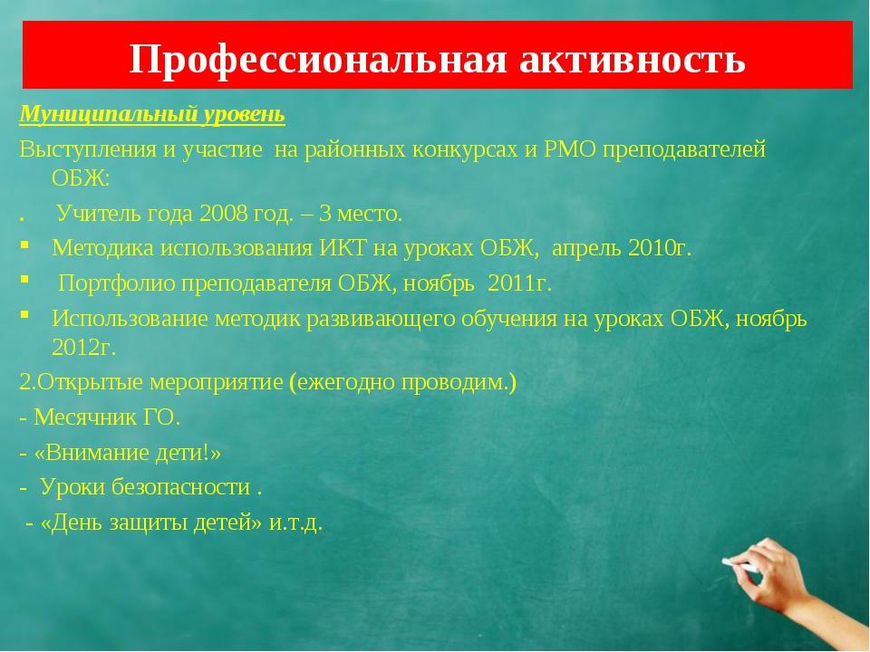 Профессиональная активность Муниципальный уровень Выступления и участие на ра...