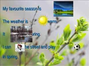 My favourite season is . The weather is and warm. It in spring. I can in the