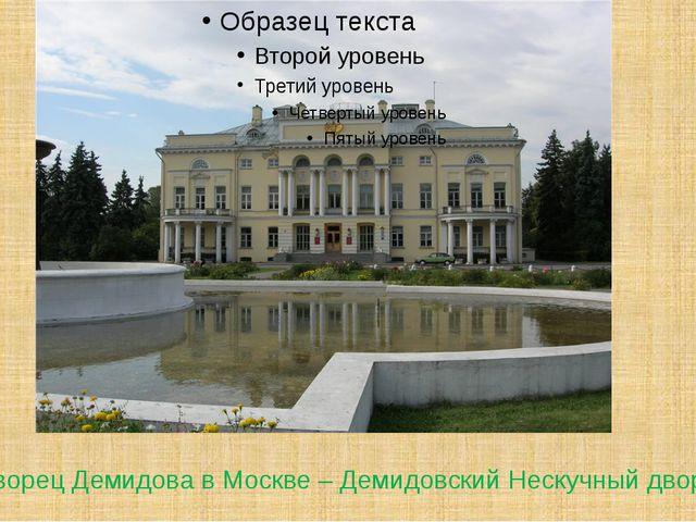 Дворец Демидова в Москве – Демидовский Нескучный дворец