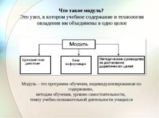 Что такое модуль? Это узел, в котором учебное содержание и технология овладен