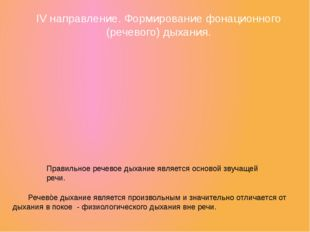 IV направление. Формирование фонационного (речевого) дыхания. Правильное рече