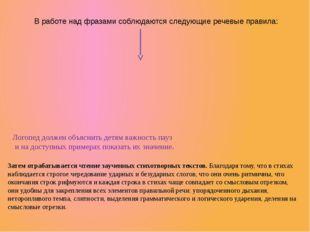 В работе над фразами соблюдаются следующие речевые правила: Логопед должен об