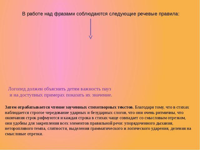 В работе над фразами соблюдаются следующие речевые правила: Логопед должен об...