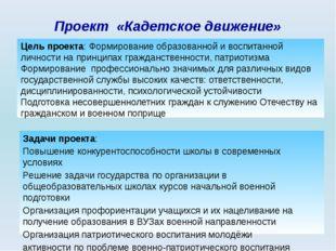 Проект «Кадетское движение» Задачи проекта: Повышение конкурентоспособности