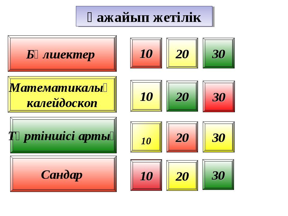 Бөлшектер 10 20 30 20 30 10 30 20 30 20 1 Математикалық калейдоскоп Төртіншіс...