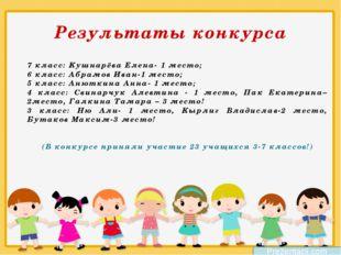 Результаты конкурса 7 класс: Кушнарёва Елена- 1 место; 6 класс: Абрамов Ива