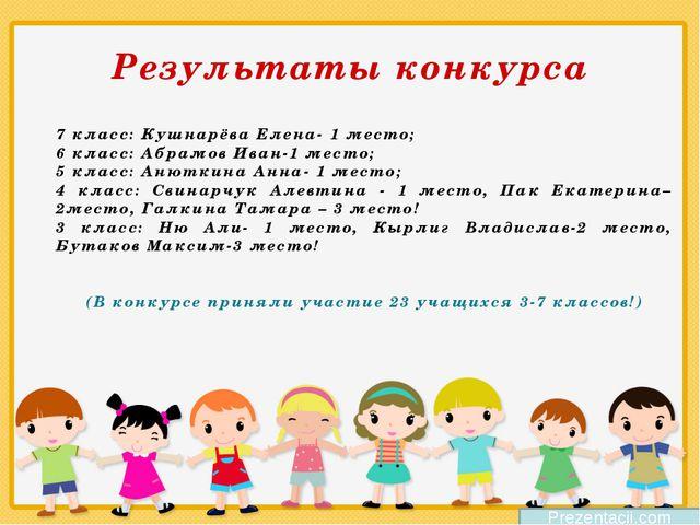 Результаты конкурса 7 класс: Кушнарёва Елена- 1 место; 6 класс: Абрамов Ива...