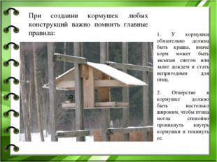 1. У кормушки обязательно должна быть крыша, иначе корм может быть засыпан сн