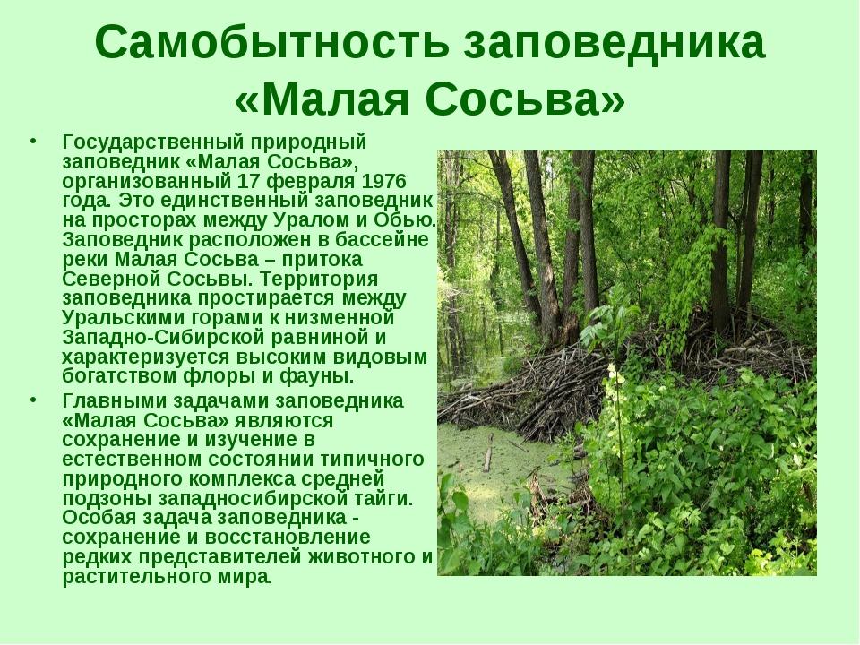 Самобытность заповедника «Малая Сосьва» Государственный природный заповедник...