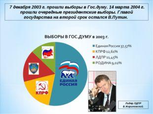 7 декабря 2003 г. прошли выборы в Гос.думу. 14 марта 2004 г. прошли очередны