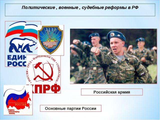 Политические , военные , судебные реформы в РФ Российская армия Основные парт...