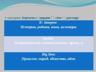 1 тапсырма: Берілген сөздерден әңгіме құрастыру. Бәйтерек: История,родина,язы