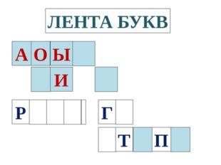Г П Т Р ЛЕНТА БУКВ А О Ы И