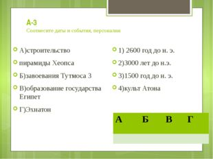 А-3 Соотнесите даты и события, персоналии А)строительство пирамиды Хеопса Б)з