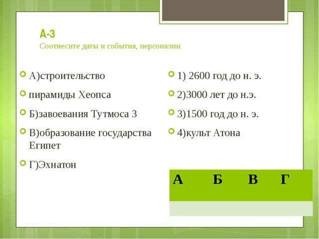 А-3 Соотнесите даты и события, персоналии А)строительство пирамиды Хеопса Б)з...