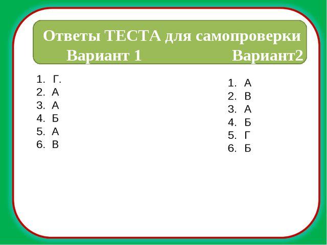 Г. 2. А 3. А 4. Б 5. А 6. В Ответы ТЕСТА для самопроверки Вариант 1 Вариант2...