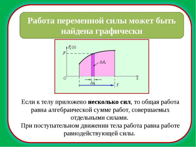 Работа переменной силы может быть найдена графически Если к телу приложено не...