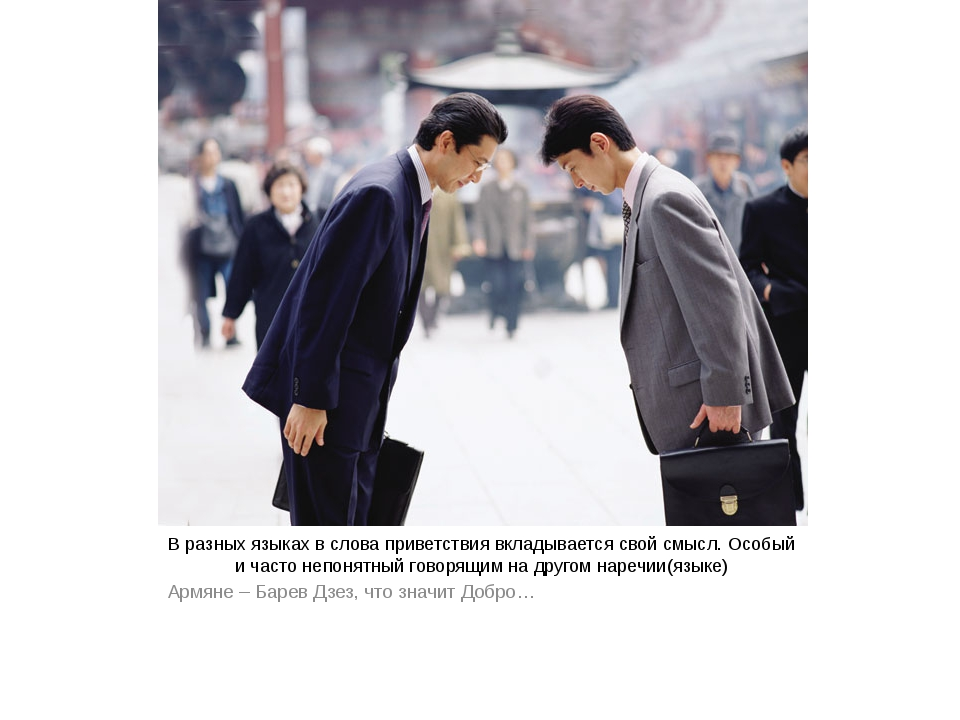 В разных языках в слова приветствия вкладывается свой смысл. Особый и часто н...