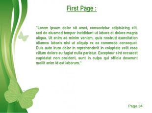 "First Page : ""Lorem ipsum dolor sit amet, consectetur adipisicing elit, sed d"