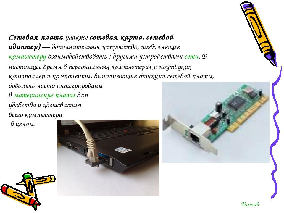 Сетевая плата(также сетевая карта,сетевой адаптер)— дополнительное устройс...