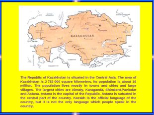 The Republic of Kazakhstan is situated in the Central Asia. The area of Kazak