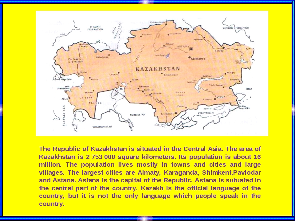 The Republic of Kazakhstan is situated in the Central Asia. The area of Kazak...
