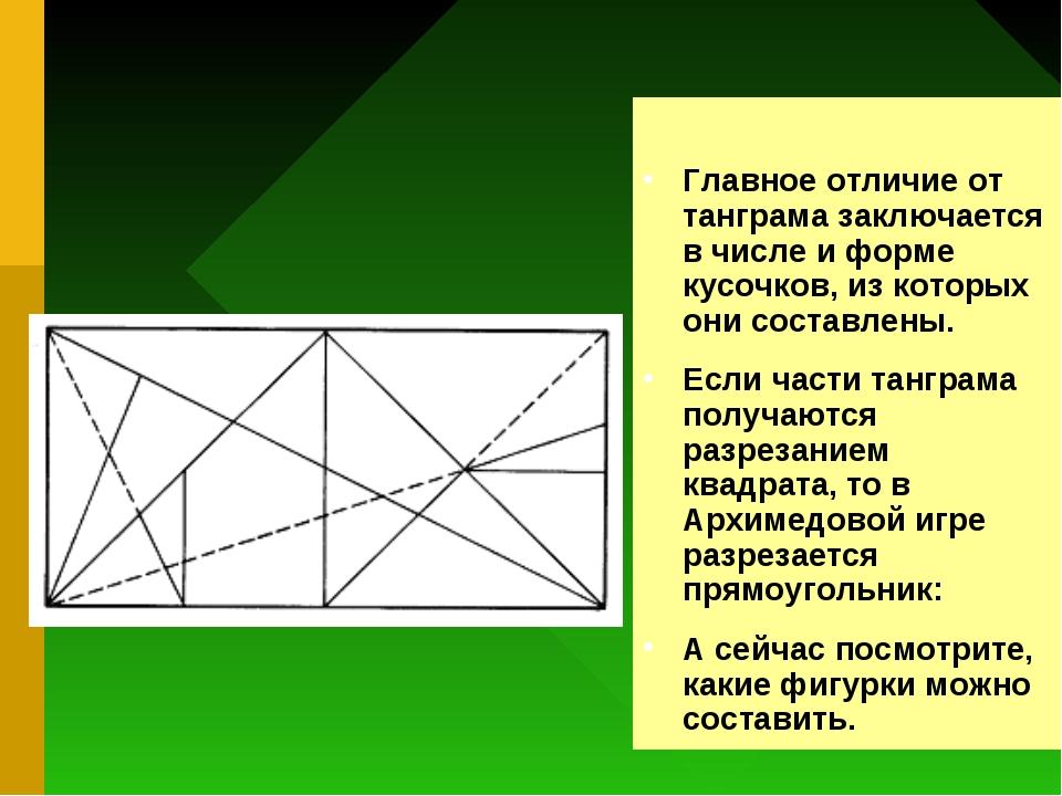 Главное отличие от танграма заключается в числе и форме кусочков, из которых...